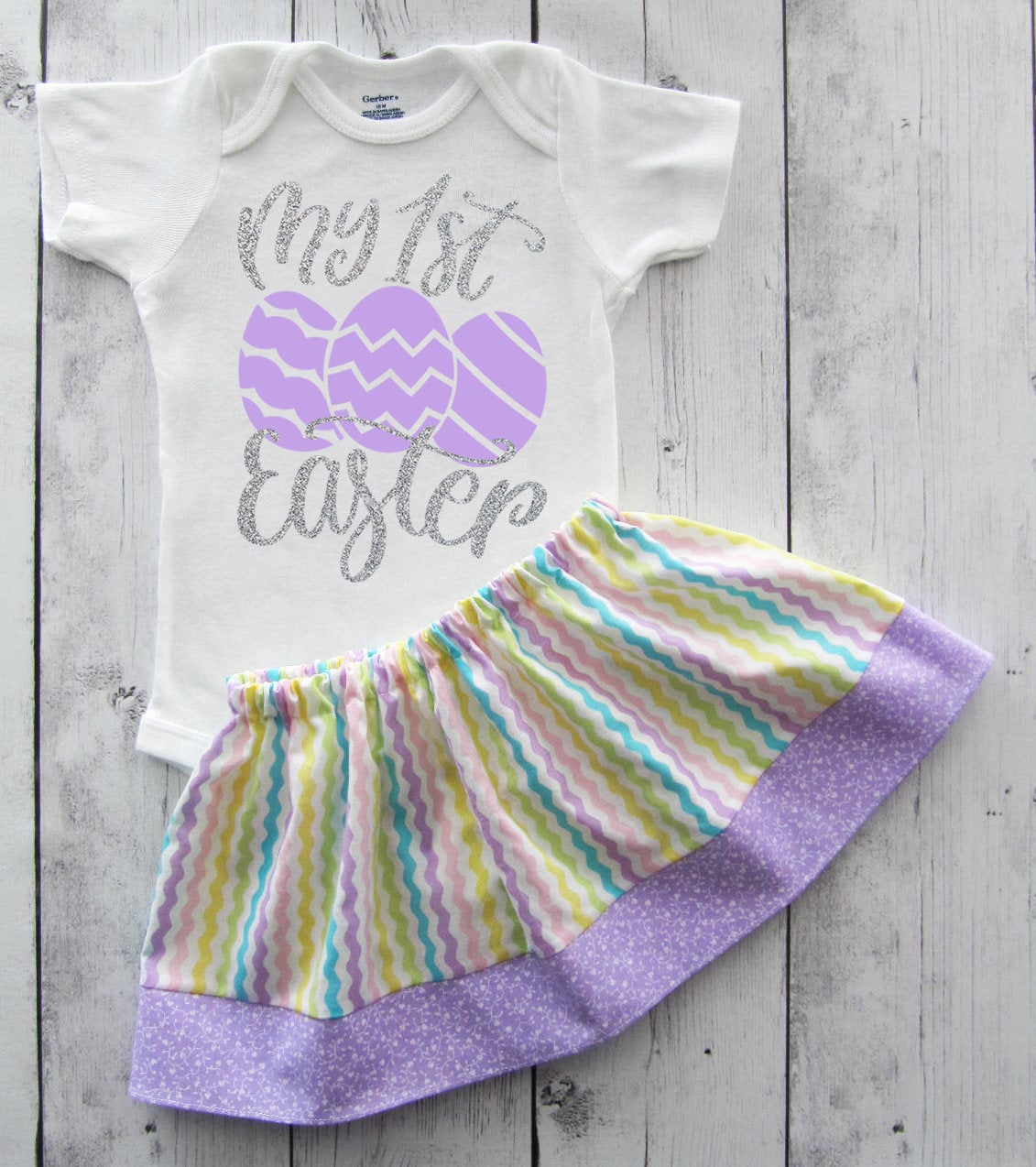 My First Easter Dress in lavender and silver - baby girl dress, first easter outfit, baby girl dress, purple, lavender, my first easter