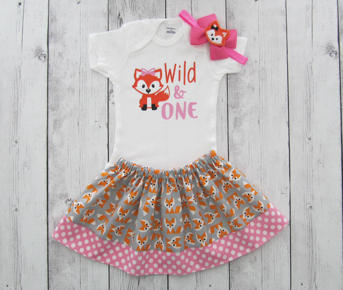 Fox First Birthday Outfit in Pink and Orange - woodland, wild one, girl birthday outfit, cake smash, fox bow headband, fox girl
