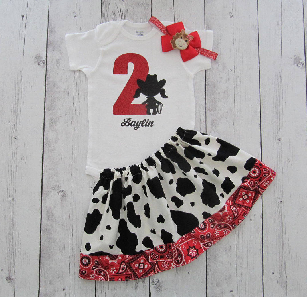 Cowgirl Second Birthday Outfit in Cow print and Red Bandana - onesie and skirt, girl birthday outfit, farm animal, rodeo, 2