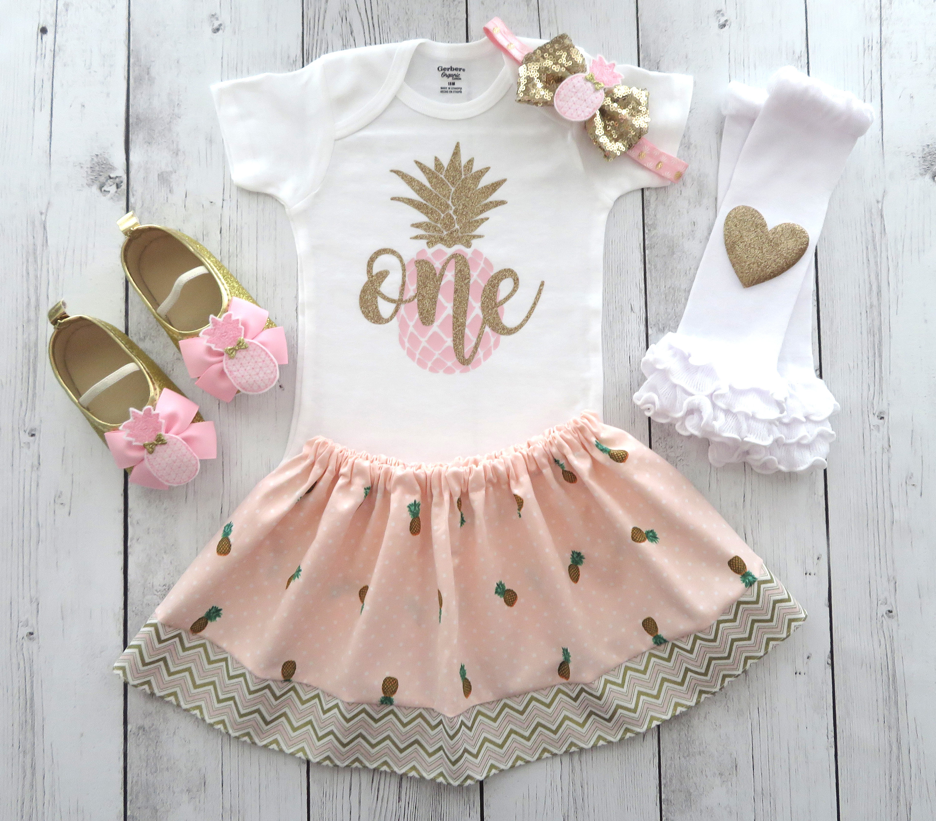 Pineapple First Birthday Outfit in Pink and Gold - girl 1st birthday outfit, luau birthday outfit, summer birthday girl, aloha birthday