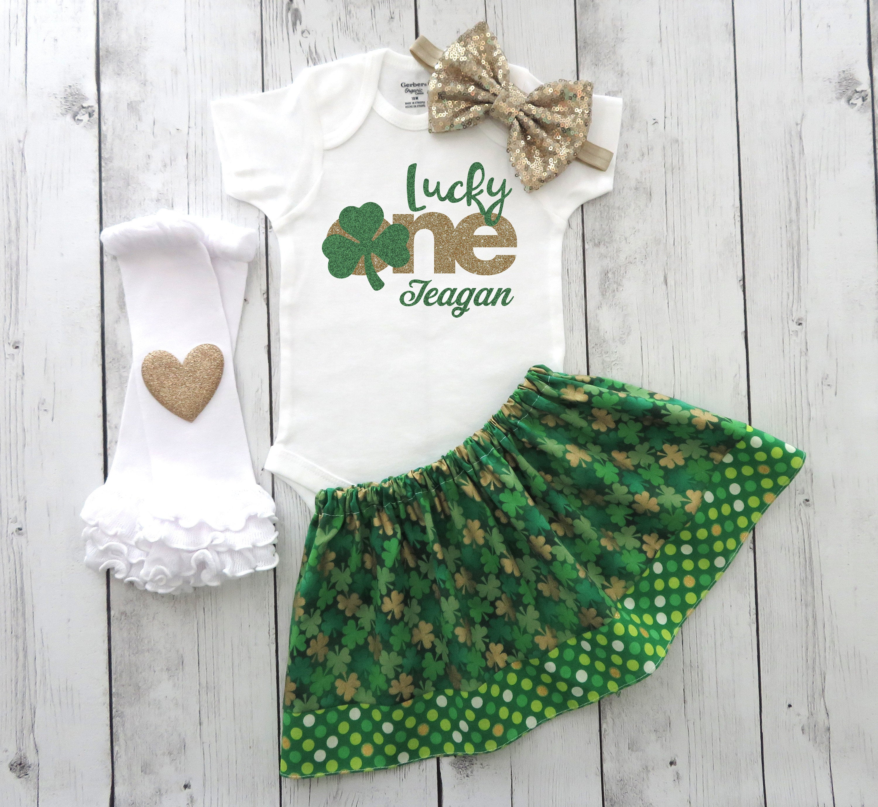 Lucky One Birthday Outfit for baby girl in green and gold - shamrock first birthday, st patricks day, march birthday, 1st bday outfit girl