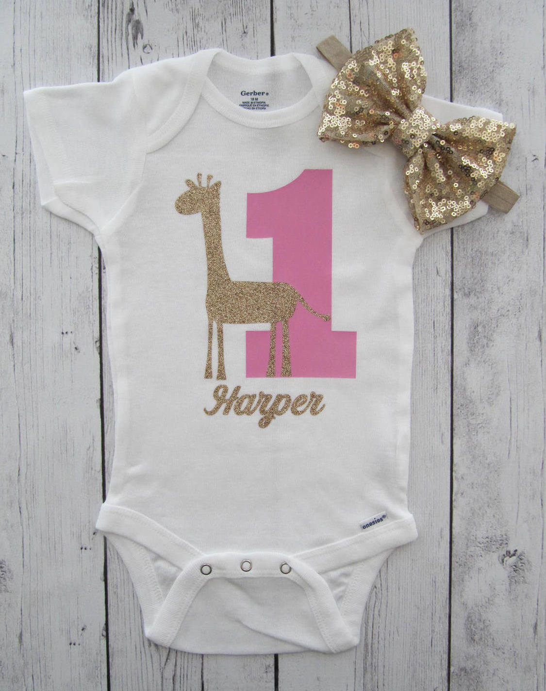 Giraffe First Birthday Onesie - gold glitter, pink gold, personalized, giraffe birthday girl