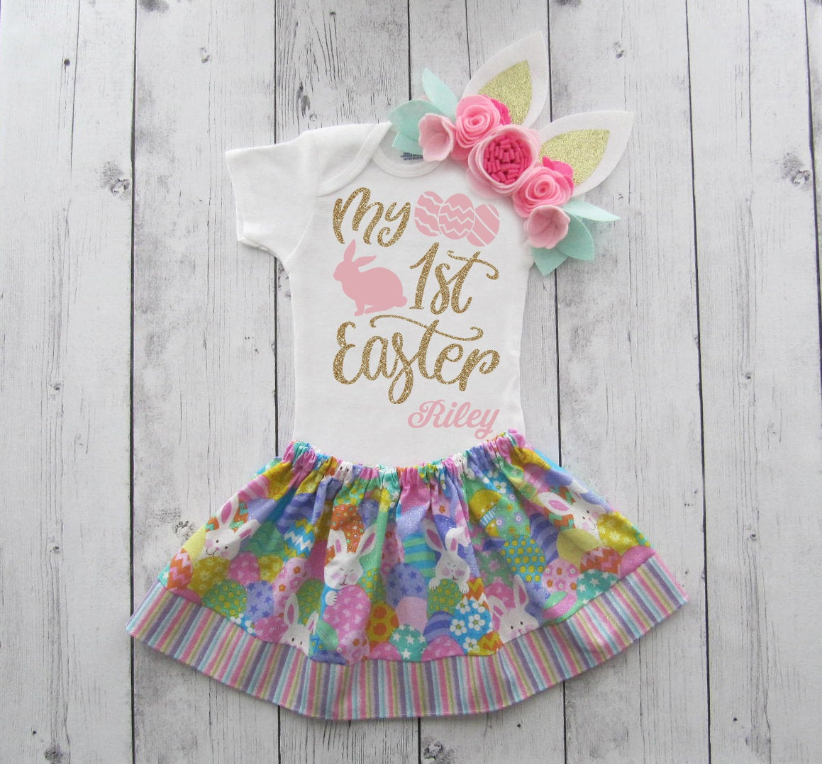 My First Easter Dress - easter bunny, first easter shirt, pink gold, baby girl first easter, first easter outfit, my first easter girl