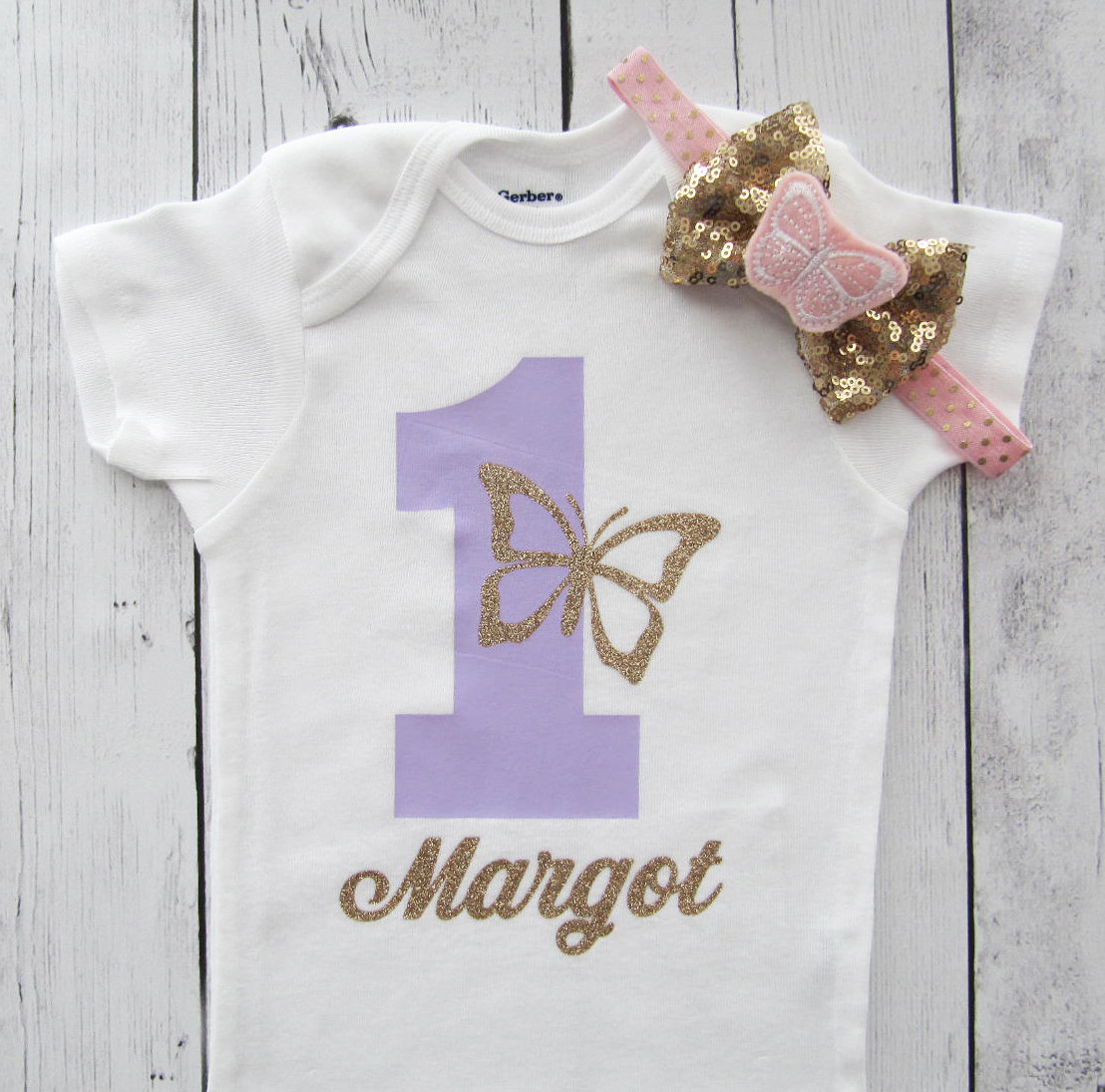 ButterflyFirst Birthday Onesie in purple and gold - girl first birthday shirt, butterfly 1 shirt, 1st birthday girl, purple gold butterflies