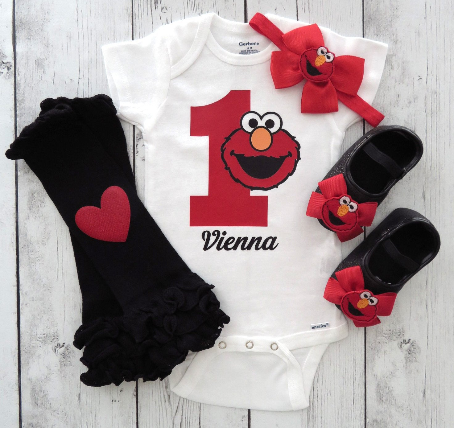 Elmo First Birthday Onesie for Girl with matching shoes and leg warmers - one year old birthday, elmo shoes, elmo birthday outfit girl