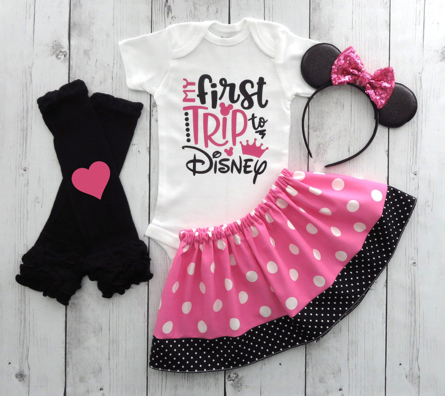 My First Disney Trip Outfit for Girl in pink and black polka dots - minnie ears, first disney trip shirt girl, pink minnie mouse skirt