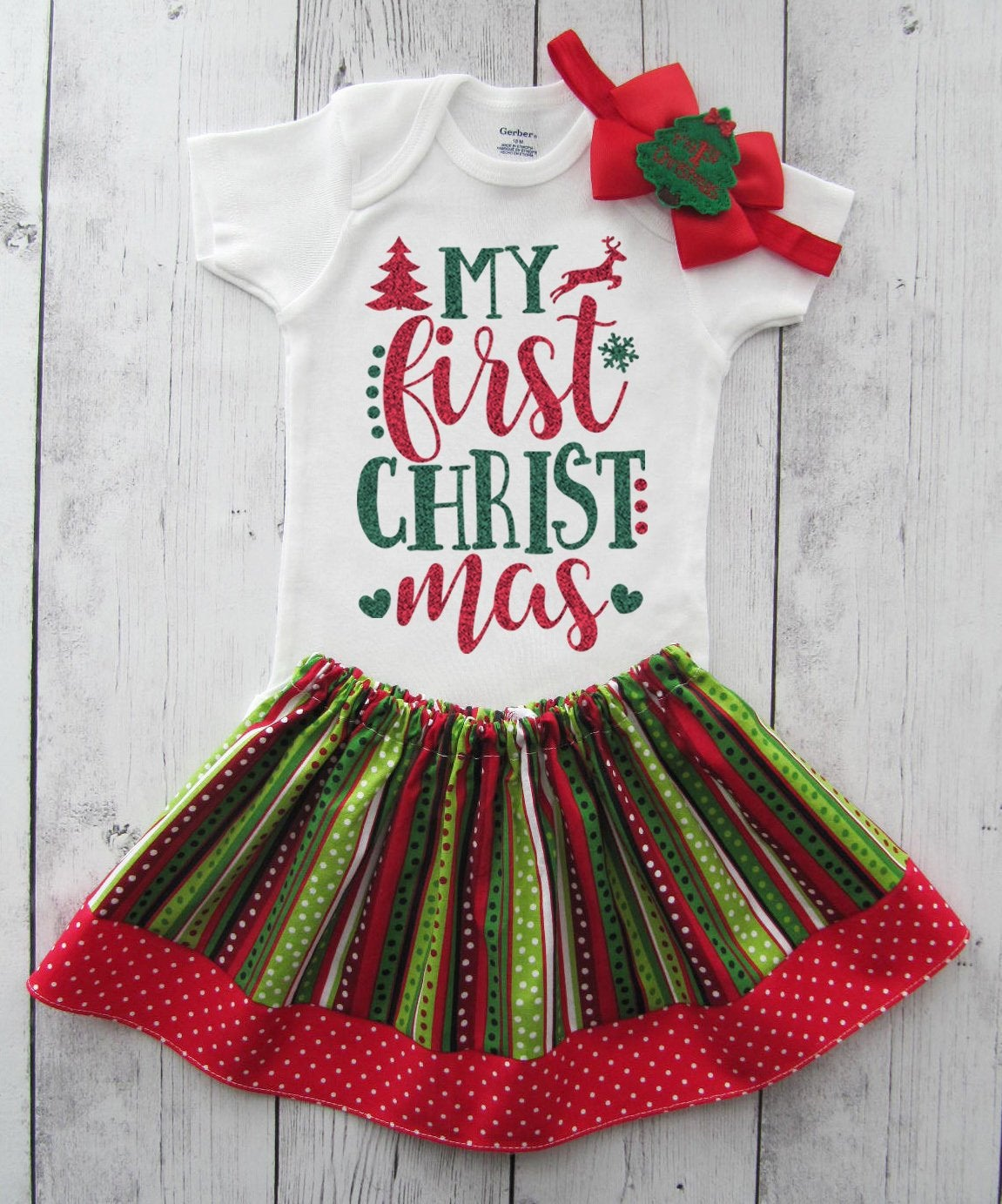 My First Christmas Dress for Baby Girl in red and green stripes - 1st xmas girl, babys first christmas outfit, ugly christmas sweater