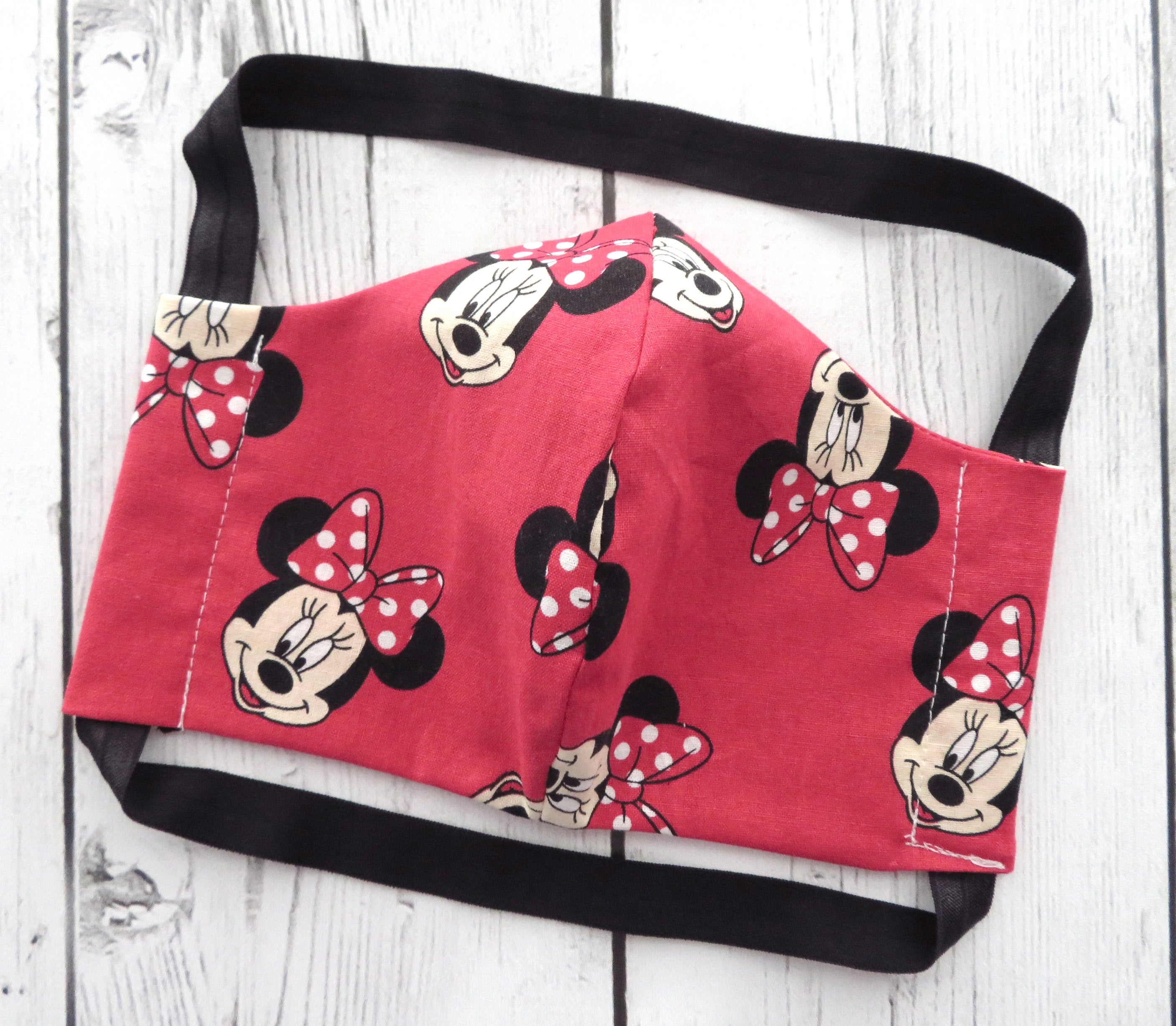 Adult Face Mask in Red Minnie Mouse print - COMFORTABLE face mask, handmade cotton face mask for adult, washable and re-usable, patterned