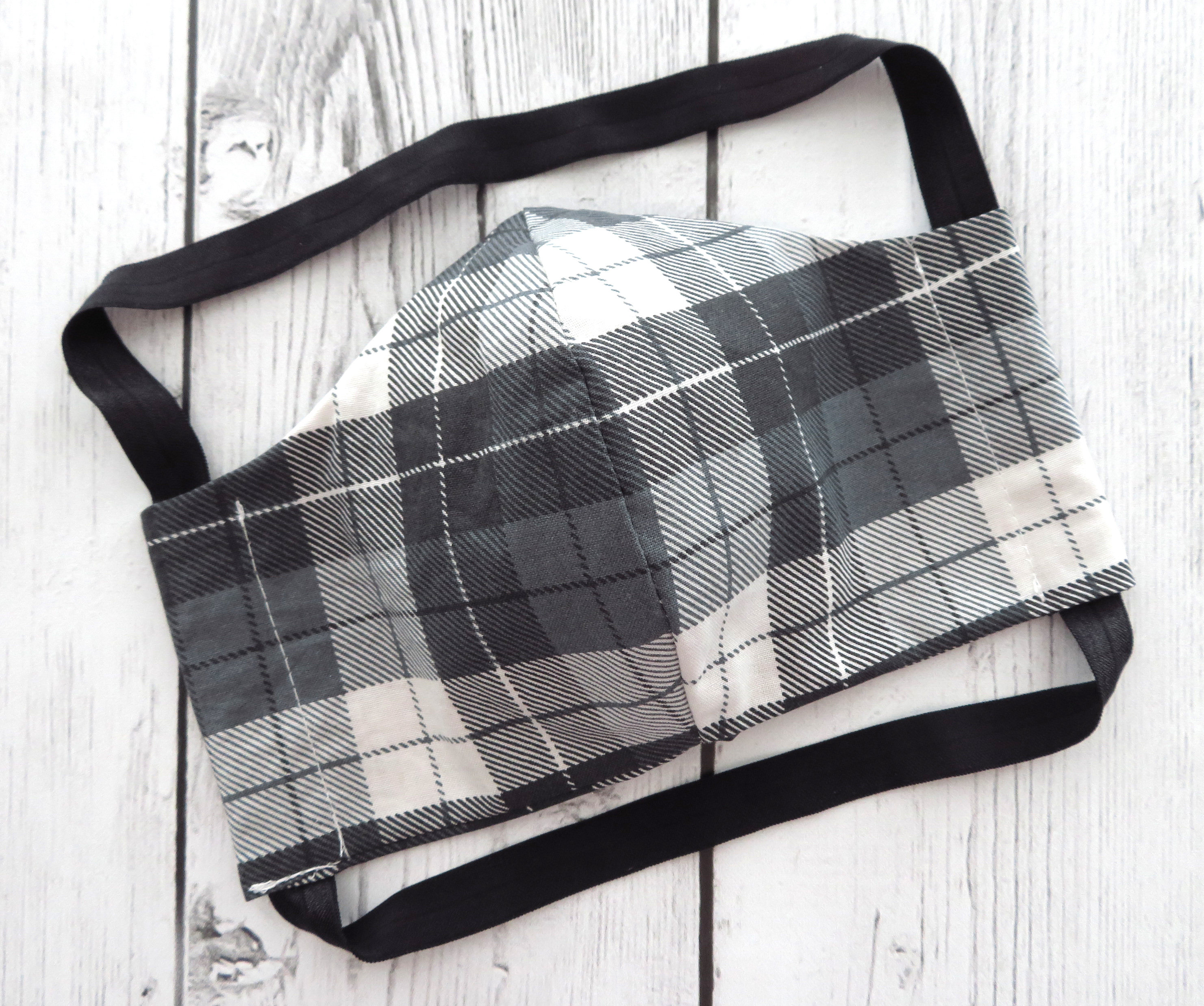 Men's Face Mask in Black and Grey Plaid -READY TO SHIP! -handmade cotton face mask, comfortable mask, washable and re-usable, made in usa