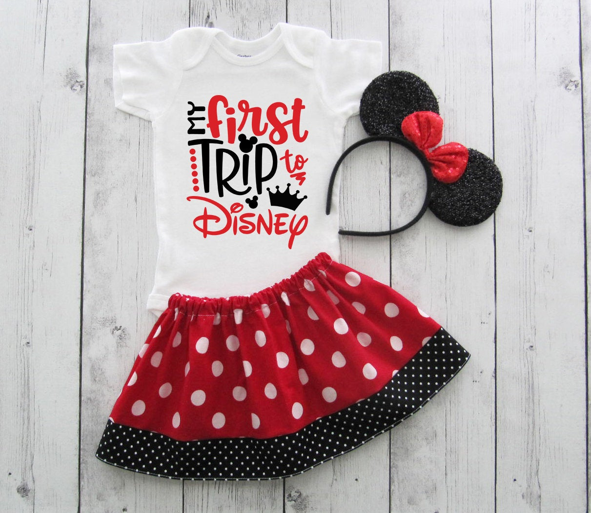 My First Disney Trip Outfit for Girl in Minnie Mouse red and black polka dots - red minnie ears, first disney trip shirt girl,