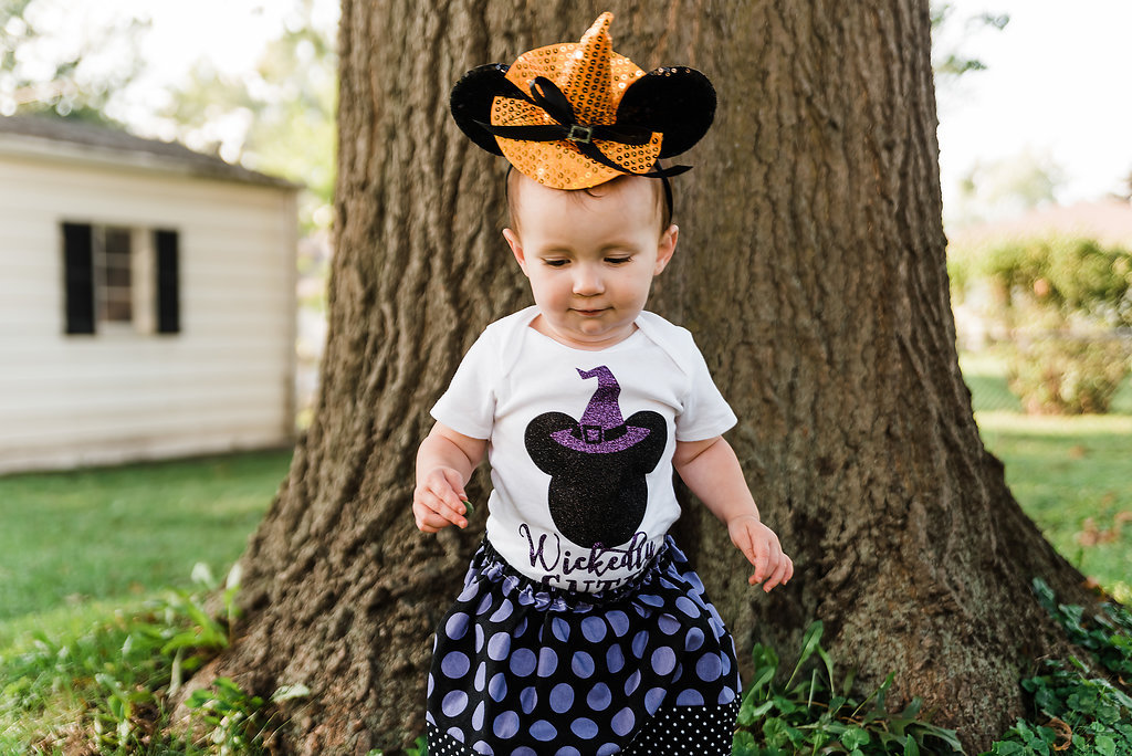 Minnie Mouse Witch Halloween Costume - toddler girl halloween costume, wickedly cute, witch costume, minnie witch hat, not so scary