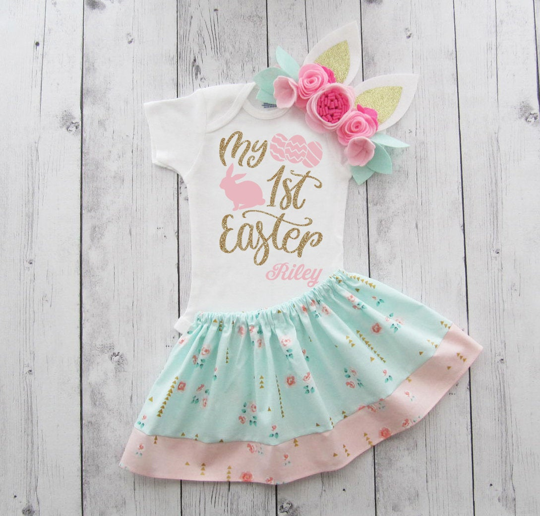 My First Easter Outfit - baby girl easter dress, bunny ears headband, first easter pink gold, first easter floral girl, bunny ear headband