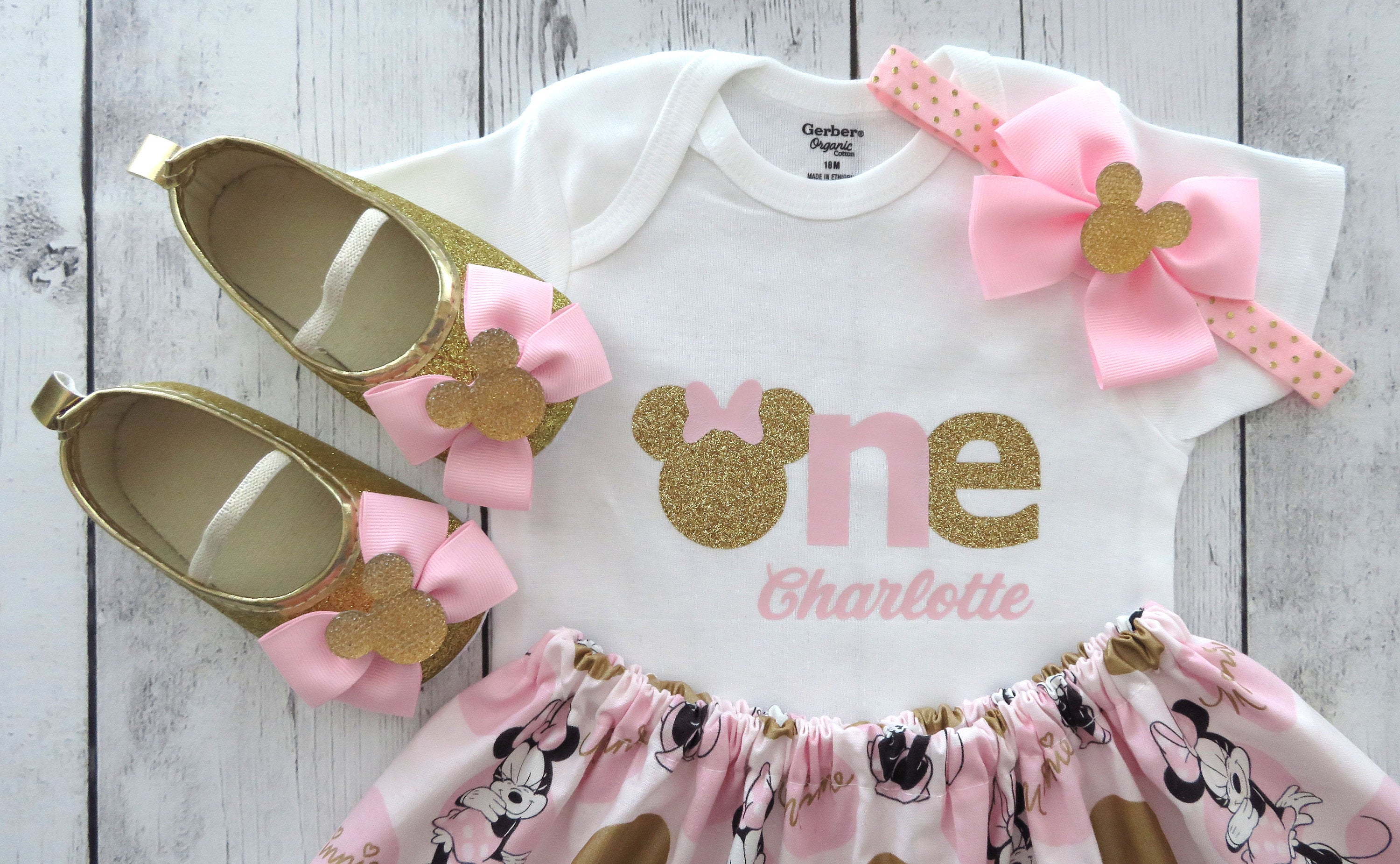 Pink and Gold Minnie Mouse First Birthday Outfit with minnie shoes - personalized outfit, pink gold minnie birthday, 1st bday outfit girl