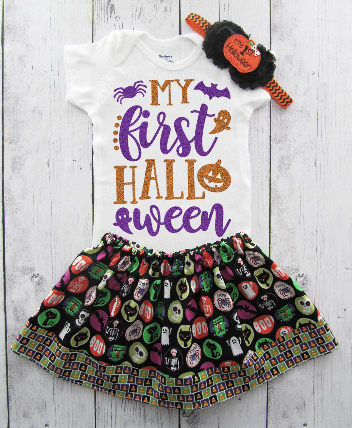 My First Halloween Outfit - baby girl halloween outfit, black orange glitter, halloween onesie, baby first halloween, halloween costume