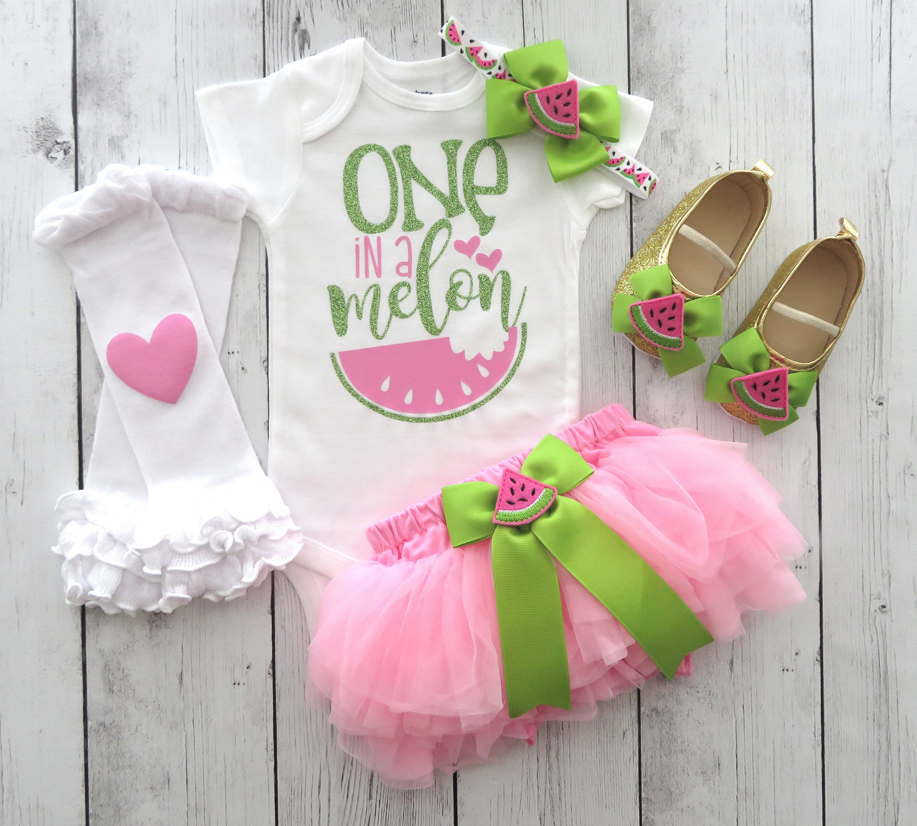 One in a Melon First Birthday Outfit with pink ruffle bloomers - watermelon 1st birthday girl, cake smash, pink watermelon, summer bday girl