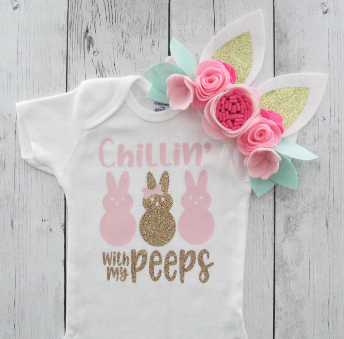 Chillin with my Peeps Onesie - pink and gold, first easter shirt, peeps shirt, bunny onesie, easter baby girl, first easter onesie girl